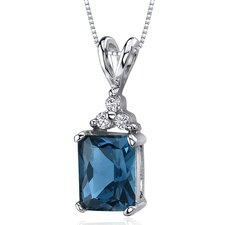 <strong>Oravo</strong> Dynamic Seduction 2.50 Carats Radiant Shape London Blue Topaz Pendant in Sterling Silver