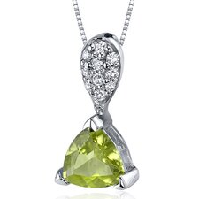 Sleek Shimmer 1.25 Carats Trillion Cut Sterling Silver Peridot Pendant in Sterling Silver