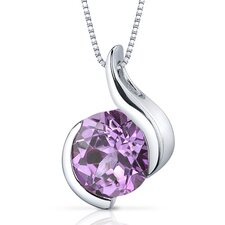 Stunning Sophistication 2.50 Carats Round Shape Pink Sapphire Pendant in Sterling Silver