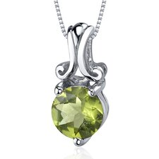 Refined Charm 1.25 Carats Round Cut Peridot Pendant in Sterling Silver
