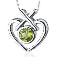 Art of Love 0.75 Carat Round Cut Peridot Pendant in Sterling Silver