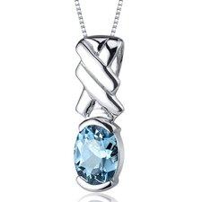 Debonair 1.50 Carats Oval Cut Swiss Blue Topaz Pendant in Sterling Silver