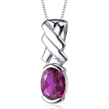 Debonair 1.75 Carats Oval Cut Ruby Pendant in Sterling Silver