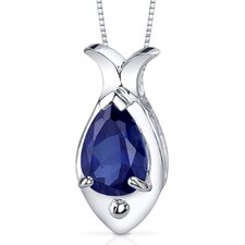 <strong>Oravo</strong> Fish Design 2.50 Carats Pear Shape Blue Sapphire Pendant in Sterling Silver