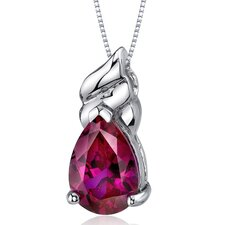 Dashing 3.75 Carats Pear Shape Ruby Pendant in Sterling Silver