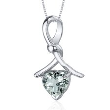 Charming Spiral 1.50 Carats Heart Shape Green Amethyst Pendant in Sterling Silver