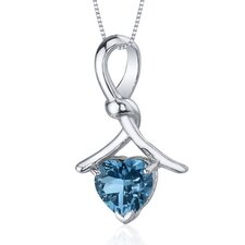 Charming Spiral 2.00 Carats Heart Shape London Blue Topaz Pendant in Sterling Silver