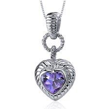 Gallant Love 1.75 Carats Heart Shape Alexandrite Pendant in Sterling Silve