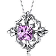 Captivating Brilliance 1.50 Carats Princess Cut Pink Sapphire Pendant in Sterling Silve