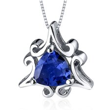 Radiant Waves 1.50 Carats Trillion Cut Blue Sapphire Pendant in Sterling Silve