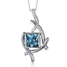 Artistic Design 2.00 Carats Princess Cut London Blue Topaz Pendant in Sterling Silve