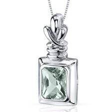 Marvelous 2.00 Carats Radiant Cut Green Amethyst Pendant in Sterling Silve