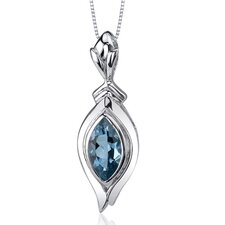 Opulent 1.00 Carats Marquise Cut London Blue Topaz Pendant in Sterling Silve