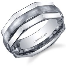 Hexagonal Edge Combination Finish 8mm Comfort Fit Mens Tungsten Carbide Wedding Band Ring