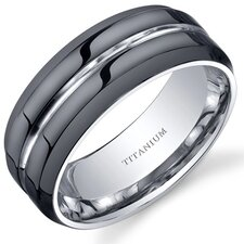 Modern Style comfort fit Mens 8mm Black Titanium Wedding Band Ring
