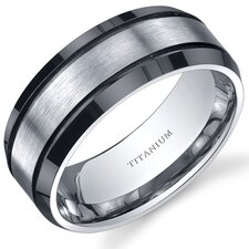 Beveled edge Black and Silver tone Mens 8mm Titanium Wedding Band Ring