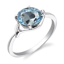 2.25 carats Oval Cut Swiss Blue Topaz Ring in Sterling Silver