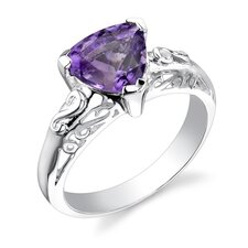 1.50 carats Trillion Cut Amethyst Ring in Sterling Silver