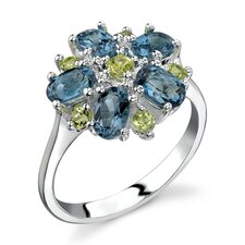 Flower Design 3.25 carats London Blue Topaz Peridot Ring in Sterling Silver