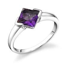 1.50 carat Princess Cut Amethyst Ring in Sterling Silver