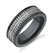 Rounded Edge 7 mm Comfort Fit Mens Black Ceramic and Tungsten Combination Wedding Band Ring