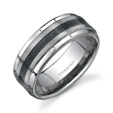 Step Edge Brush Finish Black Carbon Fiber 9 mm Comfort Fit Mens Tungsten Wedding Band Ring