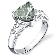 2.50 carats Trillion Cut Green Amethyst Ring in Sterling Silver