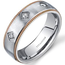 Mill grain Style Titanium 3 Stone Womens Gold Tone 6 mm Wedding Band