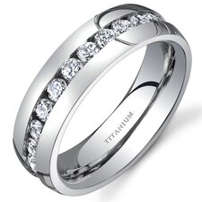 <strong>Oravo</strong> Titanium Womens 6 mm Eternity Band with Cubic Zirconia