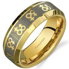 Gay Pride Double Venus Symbol 8 mm Comfort Fit Gold Tone Tungsten Wedding Band Ring