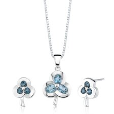 2.00 cts Oval and Round Cut London Topaz Pendant Earrings in Sterling Silver Free 18 inch Necklace