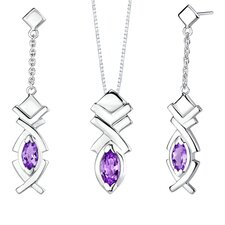 Marquise Shape Gemstone Pendant Earrings Set in Sterling Silver