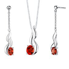 """ 4.50 carats Oval Shape Garnet Pendant Earrings Set in Sterling Silver"