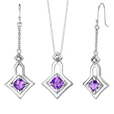 Princess Cut Pendant Earrings Set in Sterling Silver