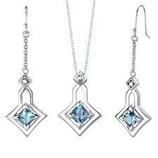 4.50 carats Princess Cut Swiss Blue Topaz Pendant Earrings Set in Sterling Silver
