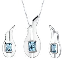 "1.13"" 3.75 carats Radiant Cut Swiss Blue Topaz Pendant Earrings Set in Sterling Silver"