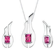 """1.13"""" Radiant Cut Ruby Pendant Earrings Set in Sterling Silver"""