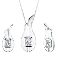 "1.13"" Radiant Cut Pendant Earrings Set in Sterling Silver"