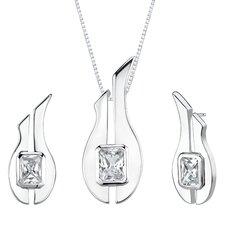"1.13"" Radiant Cut White Cubic Zirconia Pendant Earrings Set in Sterling Silver"
