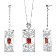 "2.5"" 4.25 carats Radiant Cut Garnet Pendant Earrings Set in Sterling Silver"