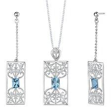 """2.5"""" 3.75 carats Radiant Cut Swiss Blue Topaz Pendant Earrings Set in Sterling Silver"""