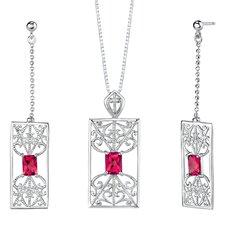 """2.5"""" Radiant Cut Ruby Pendant Earrings Set in Sterling Silver"""