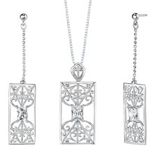 "2.5"" Radiant Cut White Cubic Zirconia Pendant Earrings Set in Sterling Silver"