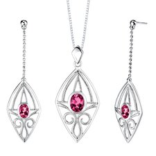 "0.75"" Oval Shape Ruby Pendant Earrings Set in Sterling Silver"