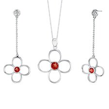 3.00 carats Round Shape Garnet Pendant Earrings Set in Sterling Silver