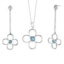 3.00 carats Round Shape Swiss Blue Topaz Pendant Earrings Set in Sterling Silver