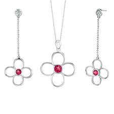 Round Shape Ruby Pendant Earrings Set in Sterling Silver