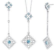 4.00 carats Round Shape Swiss Blue Topaz Pendant Earrings Set in Sterling Silver