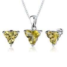 <strong>Oravo</strong> Ultimate Chic 6.75 carat Tri Flower Cut Lemon Quartz Pendant Earring Set in Sterling Silver