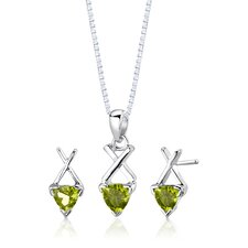 "Sterling Silver Trillion Cut Gemstone Pendant Earrings and 18"" Necklace Set"